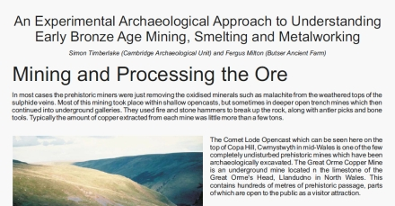 Click here to download copies of An Experimental Archaeological Approach to Understanding Early Bronze Age Mining, Smelting and Metalworking by Timberlake and Milton